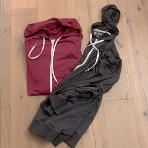 Two large mans VANS light weight zip up hoodies